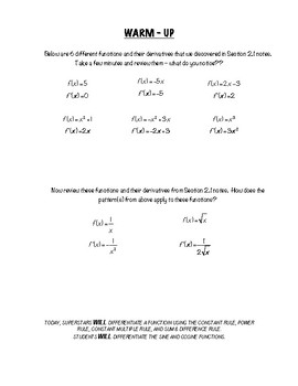 Calculus Notes 2.2 - Basic Differentiation Rules