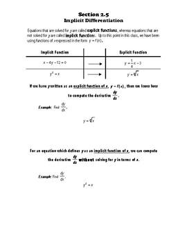 Calculus Notes 2.5 - Implicit Differentiation