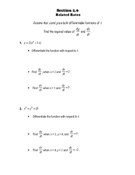 Calculus Notes 2.6 - Related Rates