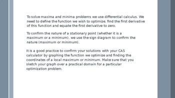 Calculus Optimisation