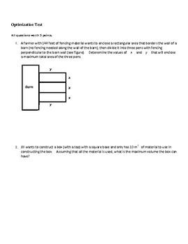 Calculus: Optimization Test by Sarah Dragoon | Teachers Pay Teachers