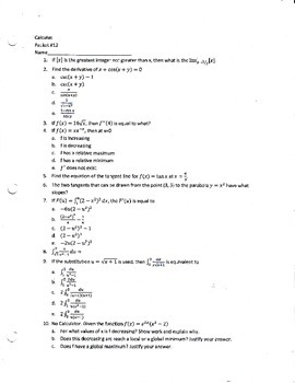 Calculus Packet #12