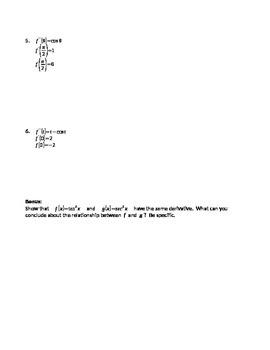 Calculus: Particular Solutions HW