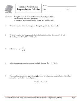 Calculus Prep--Summer Assessment