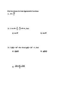 Calculus: Prerequisites Review