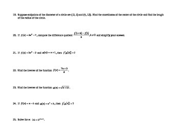 Calculus: Prerequisites Review 2