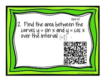Calculus Problem of the Day for April (with optional QR Codes)