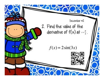Calculus Problem of the Day for December (with optional QR Codes)