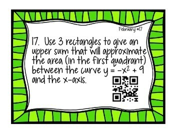 Calculus Problem of the Day for February (with optional QR Codes)