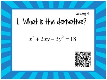 Calculus Problem of the Day for January (with optional QR Codes)