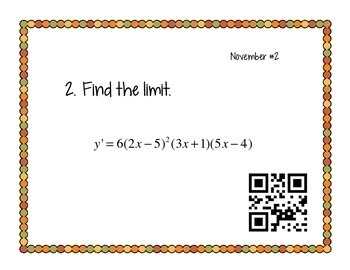 Calculus Problem of the Day for November (with optional QR Codes)