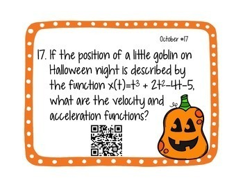 Calculus Problem of the Day for October (with optional QR Codes)