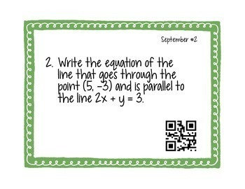 Calculus Problem of the Day for September (with optional QR Codes)
