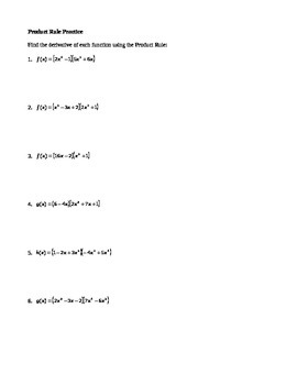 Calculus:  Product Rule Practice