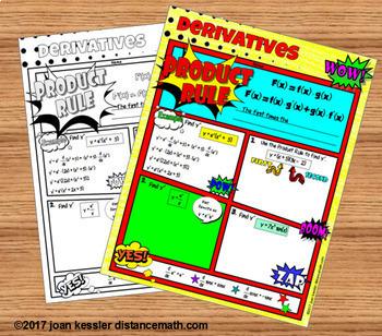 Calculus Product Rule Quotient Rule Derivatives Comic Book Doodle Notes Practice