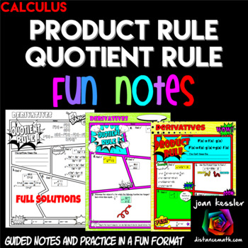 Calculus Product Rule Quotient Rule Derivatives Comic Book Doodle Notes Practice