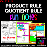 Calculus Product Rule Quotient Rule Derivatives Comic Book FUN Notes Practice