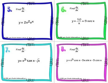 Calculus Product Rule Quotient Rule Derivatives Task Cards  plus HW