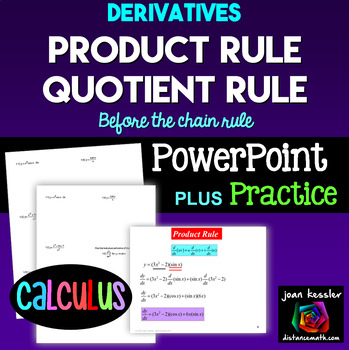 Calculus Derivatives Product Rule Quotient Rule PowerPoint plus Worksheet