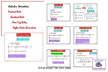 Derivatives Product Rule Quotient Rule PowerPoint plus Worksheet