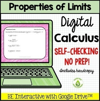 Calculus: Properties of Limits Daily Quiz Google Edition