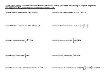 Calculus Puzzle Review - Fundamental Theorem, Average Value, Area under a curve.
