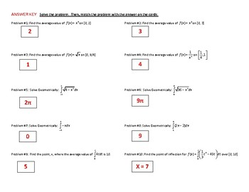 Calculus Puzzle Review - Fundamental Theorem, Average Value, Area under a curve.