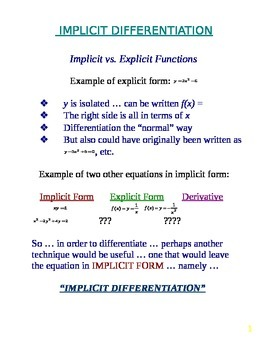 Calculus Quick Review - Implicit Differentiation (Handout / Study Aid)