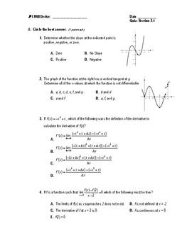 Calculus Quiz 2.1 (The Derivative & The Tangent Line)