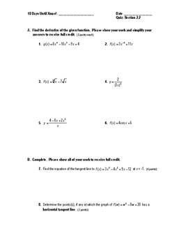 Calculus Quiz 2.2 (Basic Differentiation Rules)