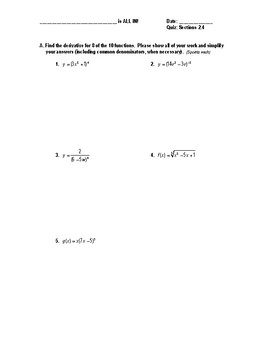 Calculus Quiz 2.4 (The Chain Rule)