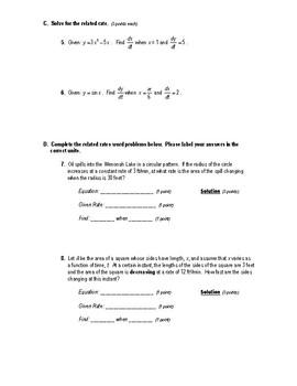 Calculus Quiz 2.5 & 2.6 (Implicit Differentiation & Related Rates)