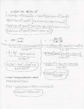 Calculus Quiz - Derivative Rules - KEY