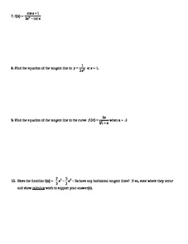 Calculus Quiz - Derivatives - Derivative rules & Equation of Tangent Line