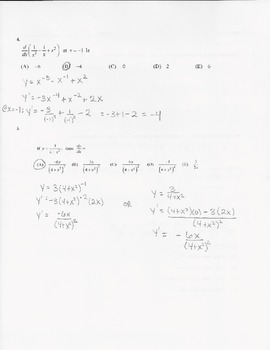 Calculus Quiz - Derivatives - Rules & Equation of Tangent Line(2) - KEY