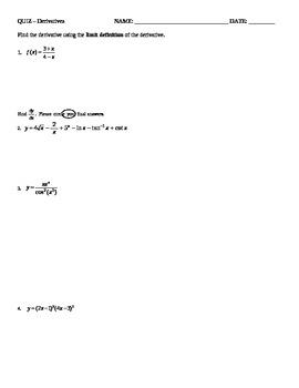 Calculus Quiz - Derivatives - Rules & Implicit Differentiation