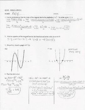 Calculus Quiz - Derivatives- limit definition,derivative rules, graphing w/ KEY