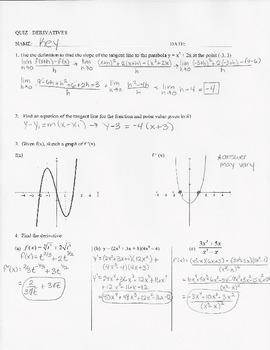 Calculus Quiz - Derivatives- limit definition,derivative r