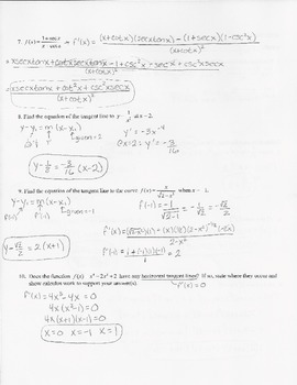 Calculus Quiz - Derivatives w/ KEY