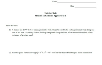 Calculus Quiz - Maxima and Minima Applications 1 w/ Solns