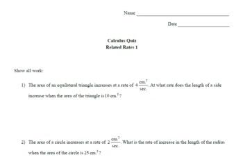 Calculus Quiz - Related Rates 1 w/ Solns