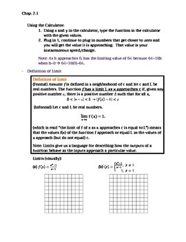 Calculus: Rates of Change and Limits Notes