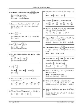 Calculus Readiness Test