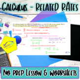 Calculus Related Rates Lesson and Worksheet with Key