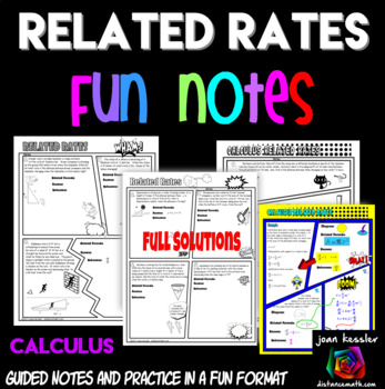 Calculus Related Rates Comic Book No Prep FUN Notes and Practice