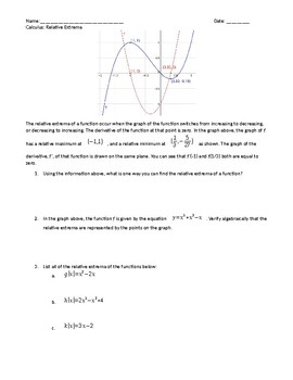 Calculus: Relative Extrema Introductional Worksheet