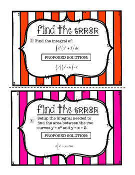 Calculus Review Find the Error Task Cards