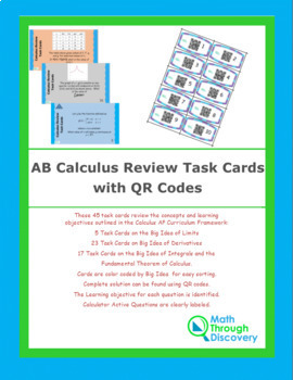 Calculus: AB Review Task Cards with QR Codes