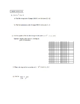 Calculus Review Test (and Solutions)