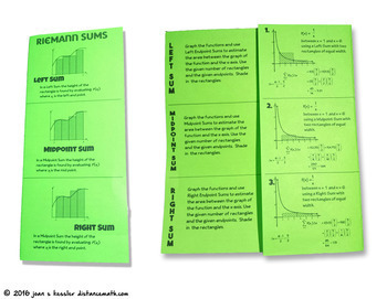 Calculus Riemann Sums Foldable - Interactive Trifold